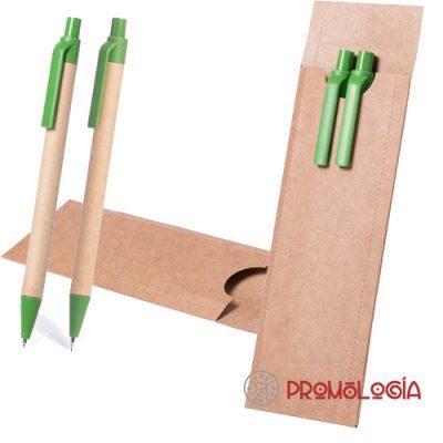 Set escritura de cartón reciclado compuesto por bolígrafo y portaminas.